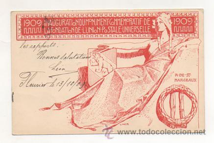1909. CONMEMORACIÓN DE LA FUNDACIÓN DE LA UNION POSTAL UNIVERSAL. INAUGURACIÓN DEL MONUMENTO. (Postales - Conmemorativas)