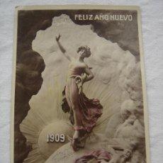 Postales: POSTAL ANTIGUA CONMEMORATIVA DEL AÑO NUEVO 1909. ESCRITA Y FECHADA EL 24-XII-1908.. Lote 26433687