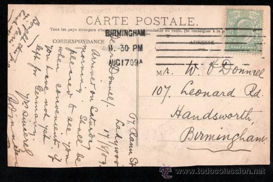 Postales: TARJETA POSTAL SATÍRICA DEL REY ALFONSO XIII, EL MAS JOVEN CORONEL DE ESPAÑA - Foto 2 - 27729892