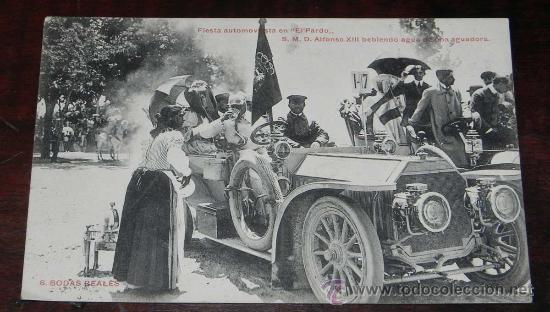 ANTIGUA POSTAL DE BODAS REALES N.6 - FIESTA AUTOMOVILISTA EN EL PARDO - S.M. DON ALFONSO XIII BEBIEN (Postales - Postales Temáticas - Conmemorativas)