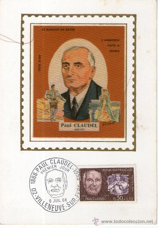 BUENA POSTAL FRANCESA, CONMEMORACION PAUL CLAUDEL - TELA - 6 DE JULIO 1968 (Postales - Postales Temáticas - Conmemorativas)