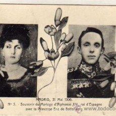 Postales: POSTAL CONMEMORATIVA DE LA BODA DE ALFONSO XIII Y VICTORIA EUGENIA DE BATTENBERG. 1906.. Lote 28785349