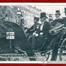 Postales: ANTIGUA POSTAL ALEMANA: EL REY ESPAÑOL ALFONSO XIII Y EL PRESIDENTE FRANCES É. LOUBET - USADA - 1905. Lote 29964730