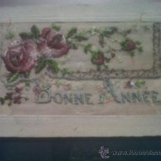 Postales: ANTIGUA POSTAL ROMANTICA BORDADA FELICIDADES BONNE ANNEE FELIZ AÑO ESCRITA LA RAYA MURCIA. Lote 30259440