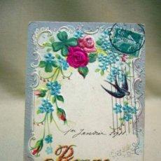 Postales: POSTAL TARJETA POSTAL, 1911, CON RELIEVE, BONNE ANNEE, FRANCIA. Lote 31107642