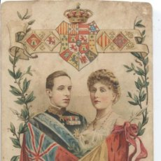 Postales: PRINCESA VICTORIA DE BATTENBERG Y EL REY ALFONSO XIII DE ESPAÑA. ESCUDO REAL. MATEU MADRID. Lote 32679975