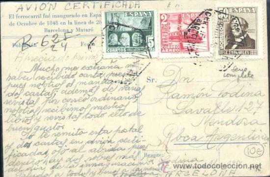 ESPAÑA 1037/39- TARJETA POSTAL CERTIFICADA CONMEMORATIVA DEL CENTENARIO DEL FERROCARRIL. (Postales - Postales Temáticas - Conmemorativas)