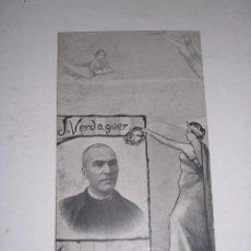 Postales: J. VERDAGUER ,INSIGNE POETA , CIRCULADA ,POSTAL RECORTADA 13X8 CM. . Lote 37426134