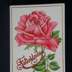 Postales: FELICIDADES ROSA TROQUELADA ARANJUEZ 19 8 1910. Lote 40372483