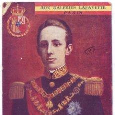 Postales: MONARQUÍA: ALFONSO XIII - GALERÍAS LAFAYETTE. CIRCULADA (1905). Lote 41619972