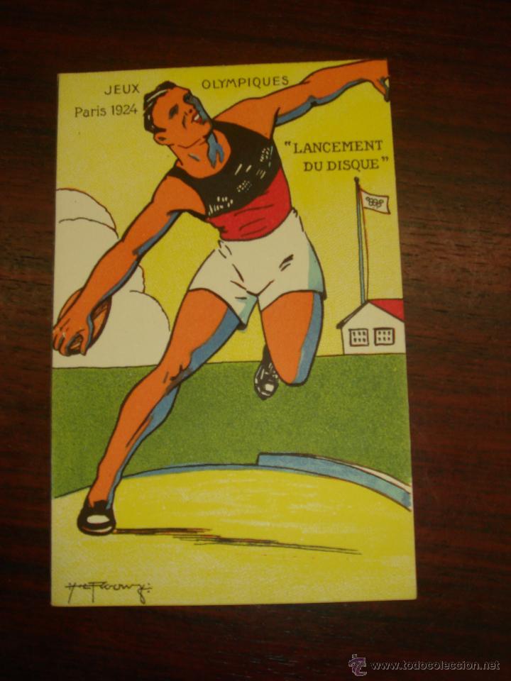 "RARA Y ANTIGUA TARJETA POSTAL EN COLOR JEUX OLYMPIQUES. PARIS 1924. ""LANCEMENT DU DISQUE"" (Postales - Postales Temáticas - Conmemorativas)"