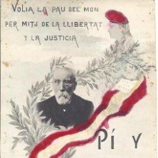 Postales: PS4432 POSTAL FOTOGRÁFICA DEL POLÍTICO FRANCISCO PI I MARGALL. CIRCULADA. Lote 43307875