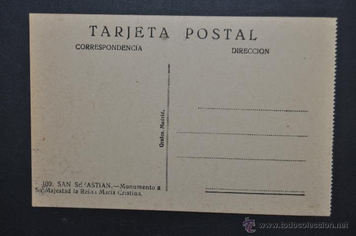 Postales: ANTIGUA POSTAL DE SAN SEBASTIAN. MONUMENTO A SU MAJESTAD LA REINA MARIA CRISTINA. SIN CIRCULAR - Foto 2 - 43726323