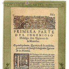 Postales: CIRCULO DE BELLAS ARTES - PORTADA DE LA PRIMERA PÁGINA DE EL QUIJOTE MANUSCRITA PRINCIPIOS SIGLO XX. Lote 35869769
