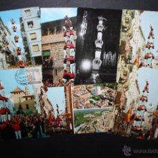 Postales: LOTE DE 7 FOTO POSTALES DELS XIQUETS DE VALLS Y NENS DEL VENDRELL. CASTELLERS. Lote 45508817