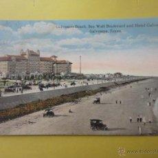 Postales: PLAYA Y HOTEL GALVEZ, GALVESTON. TEXAS. Lote 45818081