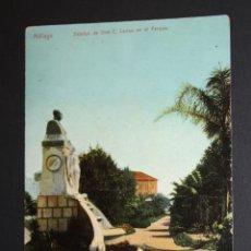 Postales: ANTIGUA POSTAL DE MÁLAGA. ESTATUA DE DON C. LARIOS EN EL PARQUE. CIRCULADA. Lote 45954606