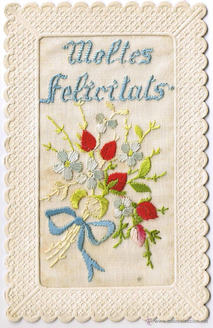 POSTAL BORDADA - MOLTES FELICITATS - CATALAN - FOTO ADICIONAL (Postales - Postales Temáticas - Conmemorativas)