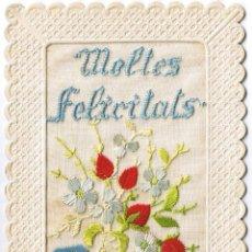 Postales: POSTAL BORDADA - MOLTES FELICITATS - CATALAN - FOTO ADICIONAL. Lote 47280968