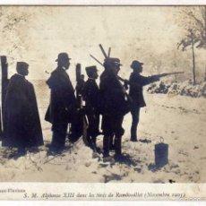 Postales: POSTAL CON ACABADO FOTOGRÁFICO. SU MAJESTAS EL REY ALFONSO XIII CAZANDO. TIRO RAMBOUILLET. 1905. Lote 58261276