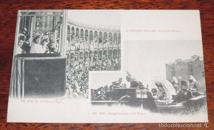 POSTAL DE BODAS REALES, N. 15, MONARQUIA, CORRIDA REGIA, ALFONSO XIII, FOT. LACOSTE. NO CIRCULADA. (Postales - Postales Temáticas - Conmemorativas)