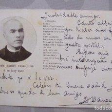 Postales: CONMEMORATIVA MOSSEN JACINTO VERDAGUER 10 JUNY 1902 - S. DURAN BORI - CIRCULADA Y FECHADA. Lote 61858852