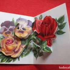 Postales: ANTIGUA TARJETA FELICITACION TROQUELADA CON PURPURINA DESPLEGABLE SIN USAR MUY BONITA. Lote 65948718