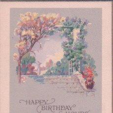 Postales: POSTAL FELICITACION CUMPLEAÑOS - HAPPY BIRTHDAY HOURS - POESIA - SERIES 1052 A U.S.A. CIRCULADA. Lote 78518781