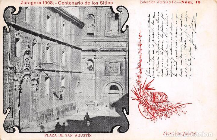 ZARAGOZA 1908.- CENTENARIO DE LOS SITIOS- PLAZA DE SAN AGUSTIN (Postales - Postales Temáticas - Conmemorativas)