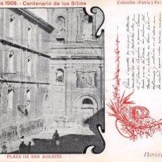 Postales: ZARAGOZA 1908.- CENTENARIO DE LOS SITIOS- PLAZA DE SAN AGUSTIN. Lote 79845173