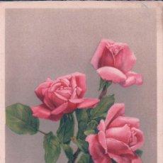 Postales: POSTAL BONNE FETE - FELICES FIESTAS - RAMILLETE DE ROSAS - PITTINS - ESCRITA. Lote 80734618