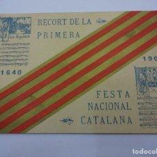 Postales: POSTAL RECORT DE LA PRIMERA FESTA NACIONAL CATALANA. ANY 1905. CATALUNYA. . Lote 84044256
