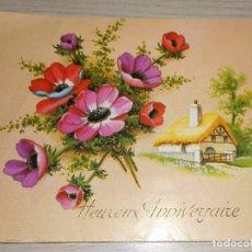 Postales: POSTAL DE ANIVERSARIO FRANCIA AÑOS 60 ESCRITA EN REVERSO TROQUELADA. Lote 86716060