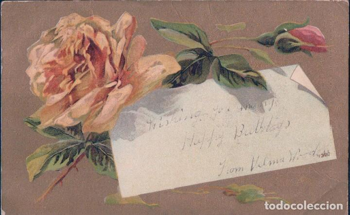 POSTAL PARA FELICITACION FELIZ CUMPLEAÑOS - CIRCULADA 1913 - ROSAS (Postales - Postales Temáticas - Conmemorativas)