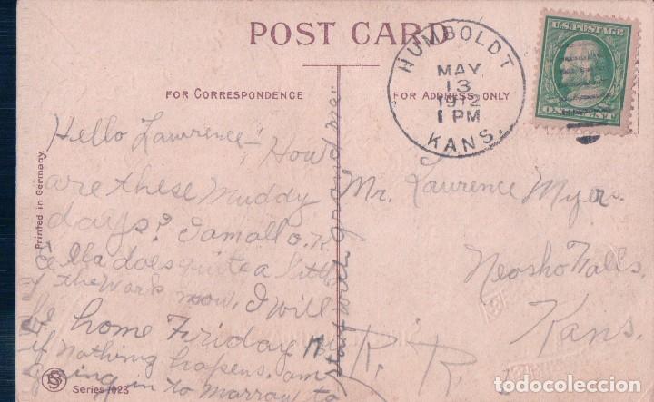 Postales: POSTAL FELIZ CUMPLEAÑOS - ROSAS - CIRCULADA 1912- SINCERE BIRTHDAY WISHES- SERIES 7023 - Foto 2 - 93081955