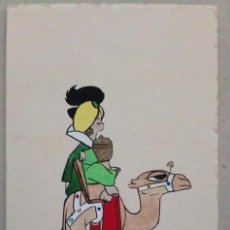 Postales: 1963, MALAGA, FELICITACION CON ILUSTRACION ORIGINAL FIRMADA. Lote 94622855