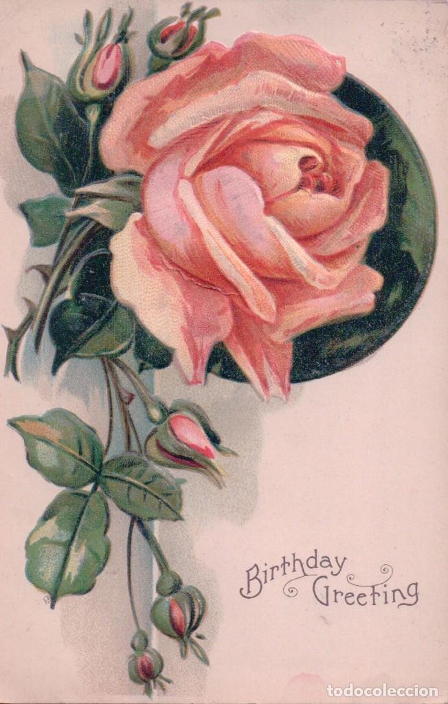 POSTAL EN RELIEVE ROSA - FELIZ CUMPLEAÑOS - BIRTHDAY GREETING - CIRCULADA 1909 (Postales - Postales Temáticas - Conmemorativas)