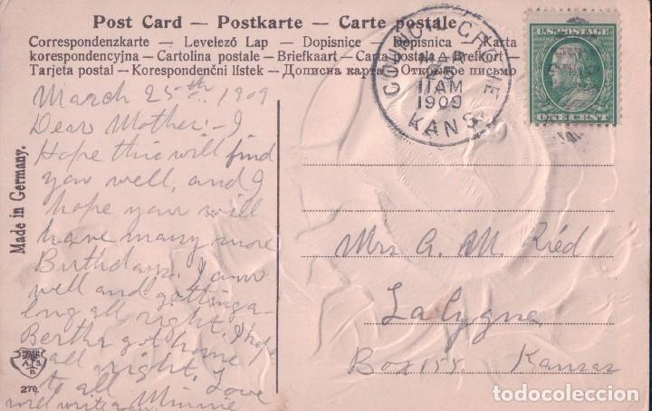 Postales: POSTAL EN RELIEVE ROSA - FELIZ CUMPLEAÑOS - BIRTHDAY GREETING - CIRCULADA 1909 - Foto 2 - 95405915
