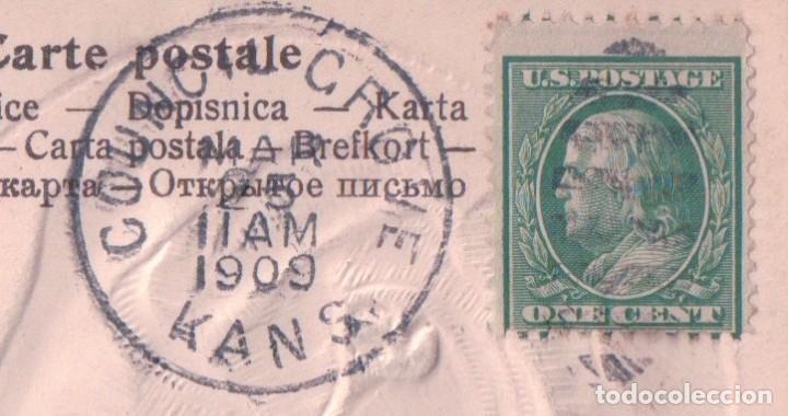 Postales: POSTAL EN RELIEVE ROSA - FELIZ CUMPLEAÑOS - BIRTHDAY GREETING - CIRCULADA 1909 - Foto 3 - 95405915