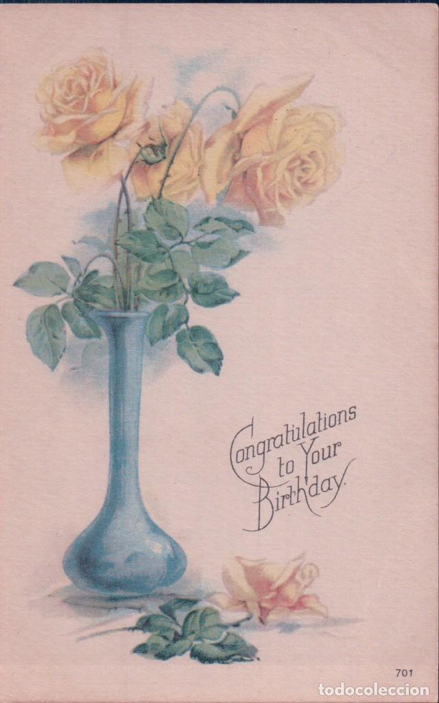 POSTAL CONGRATULATIONS TO YOUR BIRTHDAY 701 - MADE IN USA - FELIZ CUMPLEAÑOS - FLORES JARRON (Postales - Postales Temáticas - Conmemorativas)