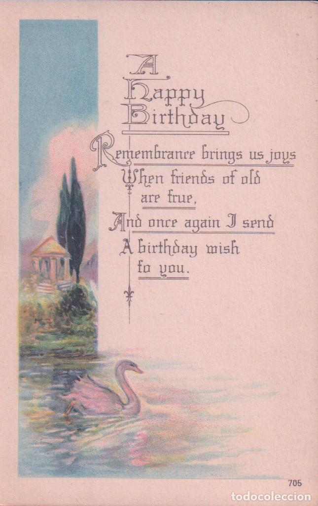 Postales: POSTAL A HAPPY BIRTHDAY 705 - MADE IN USA - FELIZ CUMPLEAÑOS - CISNE - LAGO - PAISAJE - Foto 1 - 96604871