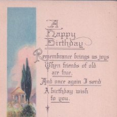 Postales: POSTAL A HAPPY BIRTHDAY 705 - MADE IN USA - FELIZ CUMPLEAÑOS - CISNE - LAGO - PAISAJE. Lote 96604871