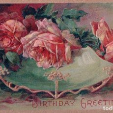 Postales: POSTAL FELIZ CUMPLEAÑOS E RELIEVES - BIRTHDAY GREETINGS - CIRCULADA. Lote 96874015