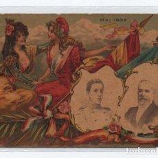 Postales: (ALB-TC-9) INTERESANTE POSTAL MAI 1905 VISITA ALFONSO XIII A FRANCIA CON EMILE LOUBET ESCRITA. Lote 101249743