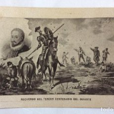 Postales: POSTAL CONMEMORATIVA. RECUERDO DEL TERCER CENTENARIO DEL QUIJOTE. CERVANTES.. Lote 103519291