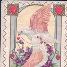 Postales: POSTAL SAN VALENTIN - CIRCULADA FEBRERO 1912 - PALOMAS - CORAZONES - FLORES - EN RELIEVE. Lote 103758203