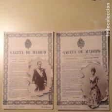 Postales: POSTALES GACETA DE MADRID ALFONSO Y MARÍA CRISTINA. Lote 103875659