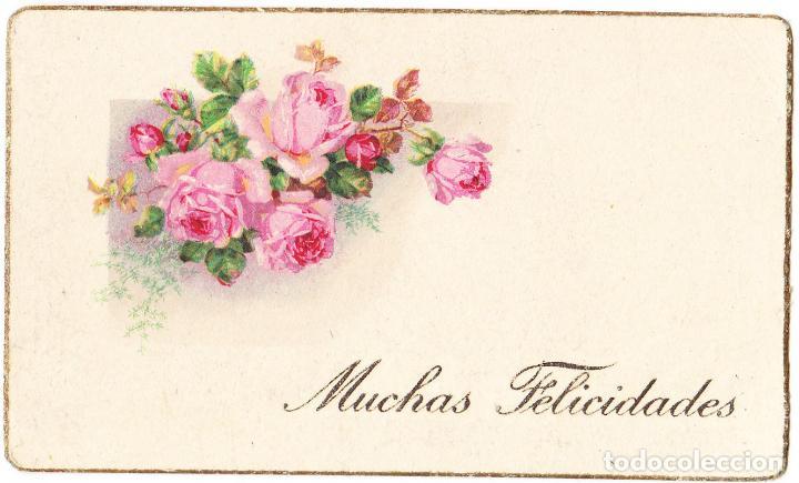 MUCHAS FELICIDADES - FLORES ROSAS - 11 X 6.50 CMS (Postales - Postales Temáticas - Conmemorativas)