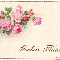 Postales: MUCHAS FELICIDADES - FLORES ROSAS - 11 X 6.50 CMS. Lote 107087347