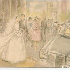 Postales: INVITACION DE BODA AÑO 1961, ILUSTRADA POR FLORIT - HOSPITALET DE LLOBREGAT. Lote 112525471